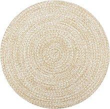 Asupermall - Handmade Rug Jute White and Natural