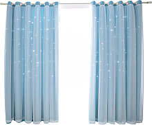 Asupermall - Hollow star curtain, blue 1m*2m two