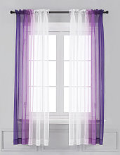 Asupermall - Ombre Sheer Curtains - Faux Linen
