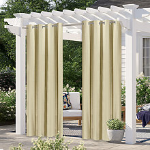 Asupermall - Outdoor curtain, beige two-piece