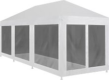Asupermall - Party Tent with 8 Mesh Sidewalls 9x3 m