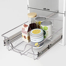 Asupermall - Pull-Out Wire Baskets 2 pcs Silver