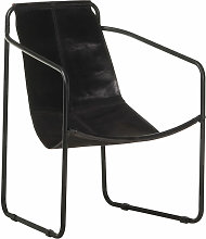 Asupermall - Relaxing Armchair Black Real Leather