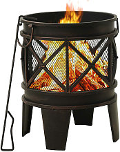 Asupermall - Rustic Fire Pit with Poker