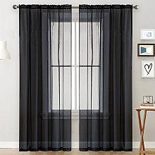 Asupermall - Sheer Curtains Living Room Rod Pocket