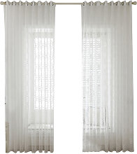 Asupermall - White Sheer Voile Window Curtain with