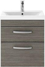 Athena Grey Avola 500mm Wall Hung 2 Drawer Cabinet