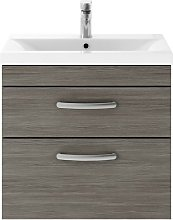 Athena Grey Avola 600mm Wall Hung 2 Drawer Cabinet