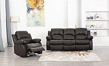 Athon furniture Brown 3+1 Set, Armchair Recliner