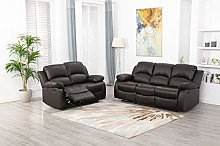 Athon furniture Brown 3+2 seater, Double Recliner