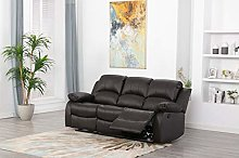 Athon furniture Brown 3 seater, Double Recliner