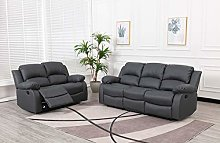 Athon furniture Grey 3+2 seater, Double Recliner