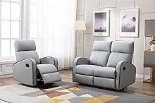 Athon furniture Light Grey Leather Stylish 2+1