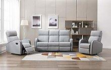 Athon furniture Light Grey Leather Stylish 3+1+1