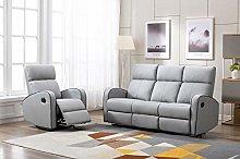 Athon furniture Light Grey Leather Stylish 3+1