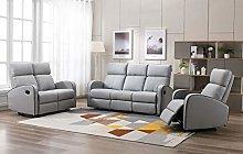 Athon furniture Light Grey Leather Stylish 3+2+1
