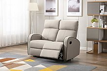 Athon furniture Taupe Leather Stylish 2 Seater