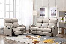 Athon furniture Taupe Leather Stylish 3+2 Seater
