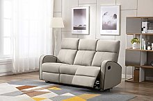 Athon furniture Taupe Leather Stylish 3 Seater