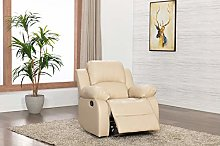 Athon Leather Cream 1 Seater Reclining Family