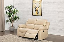 Athon Leather Cream 2 Seater Reclining Family
