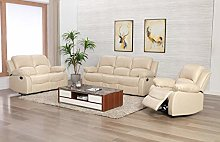 Athon Leather Cream 3+2+1 Seater Reclining Family