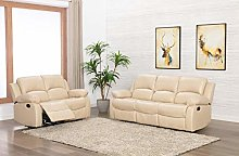 Athon Leather Cream 3+2 Seater Reclining Family