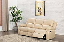 Athon Leather Cream 3 Seater Reclining Family