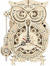 ATING 3D Wooden Puzzle Owl Clock Model Building