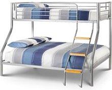 Atlas Silver Finish Metal Triple Sleeper Bunk Bed