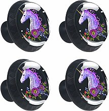 ATOMO 4pcs Abstract Unicorn with Flowers Crystal