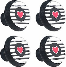 ATOMO 4pcs Black Stripes with Red Heart Crystal