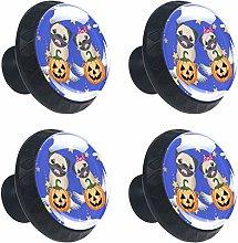 ATOMO 4pcs Halloween Dogs with Pumpkins Crystal