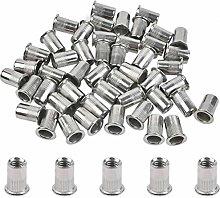 ATPWON 50PCS M8 Stainless Steel Rivet Nut Flat