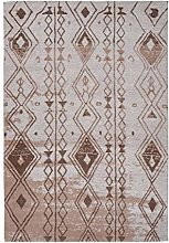 Attractive Flat Pile Rug Jacquard Woven Brown 150