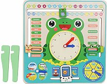 Atyhao Kids Calendar Clock Board, Cartoon Wooden