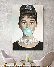 Audrey Hepburn Blue Bubblegum Canvas Wall Art