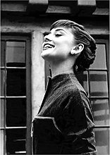 Audrey Hepburn Poster Black and White Wall Art
