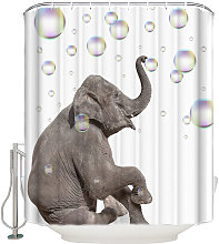 Augienb - Modern elephant shower curtain for