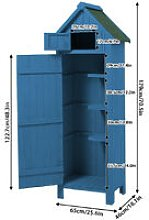 Augienb - Wooden Garden Tool Shed 65x46x179 Blue