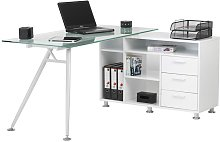 Augusta Computer Workstation with Frosted Glass -