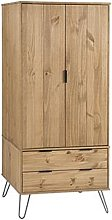 Augusta Wardrobe In Waxed Pine With 2 Doors And 2