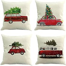Auied 4PC Christmas Car Pattern White Square