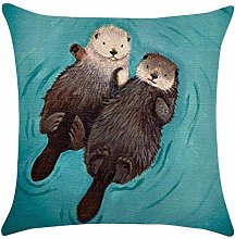 Auied Simple Printed Throw Cute Animal Otter