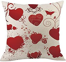 Auied Simple Printed Throw Red Heart Pillow