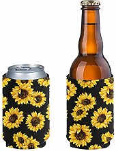 Aulaygo 2 Pieces Yellow Sunflower Insulator Can