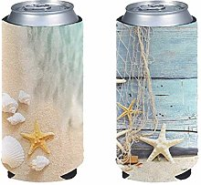 Aulaygo 2pcs Can Cooler Sleeves Beer Blank Cover,