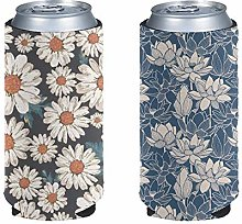 Aulaygo 2pcs Daisy Lotus Standard Can Cooler