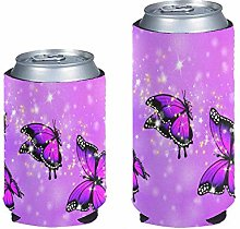 Aulaygo Bling Purple Butterfly Can Cooler Coozie