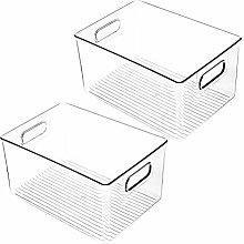Auplew 2 pcs Storage Box Pantry Organizer Bin Food
